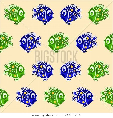 Seamless Texture Fish As Faience Christmas Motive Vector