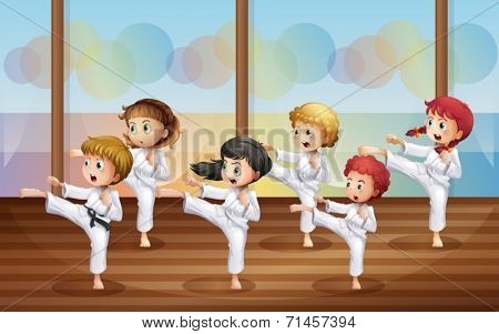 Illustration of the kids practicing karate
