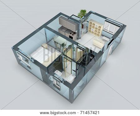 Blue glass apartment
