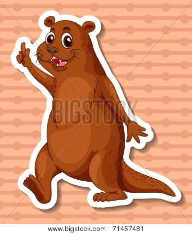 Illustration of a single otter pointing