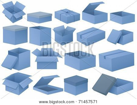 Illustration of the set of blue boxes on a white background