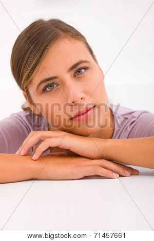 Young Woman Leaning Forward Desk