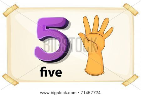 Illustration of a flashcard number five