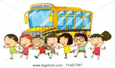 Illustration of students and a shcool bus