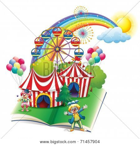 Illustration of a storybook about the carnival on a white background