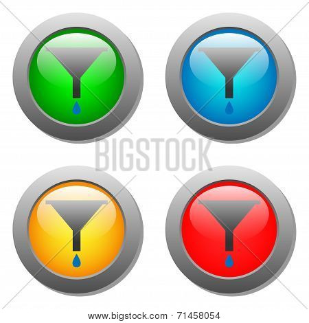 Funnel icon with drops set on glass buttons