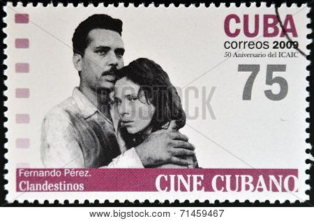 CUBA - CIRCA 2009: A stamp printed in Cuba dedicated to Cuban cinema shows Fernando Pérez