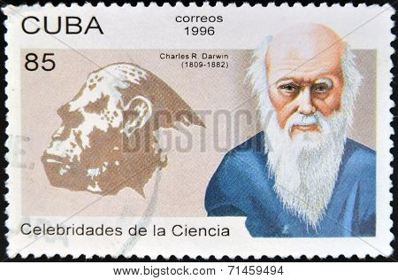 CUBA - CIRCA 1996: a postage stamp printed in Cuba shows an image of Charles Darwin circa 1996.