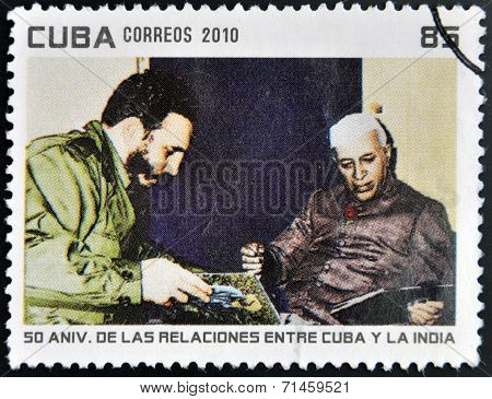CUBA - CIRCA 2010: A stamp printed in Cuba shows Fidel Castro and President of India Rajendra Prasad