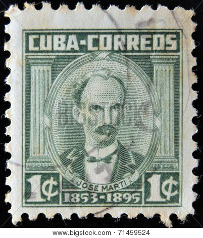 CUBA - CIRCA 1953: A stamp printed in Cuba shows portrait of poet and revolutionary Jose Marti