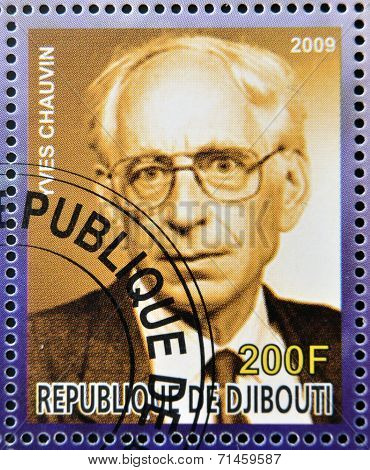 DJIBOUTI - CIRCA 2009: stamp dedicated to French Nobel chemistry prize shows Yves Chauvin circa 2009