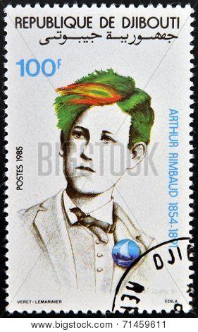DJIBOUTI - CIRCA 1985: stamp printed in Djibouti shows Arthur Rimbaud circa 1985