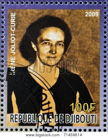 DJIBOUTI - CIRCA 2009: stamp dedicated to French Nobel chemistry prize shows Irene Joliot Curie