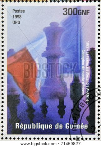 stamp printed in Republic of Guinea commemorates the Frenchman Alexandre is the world chess champion