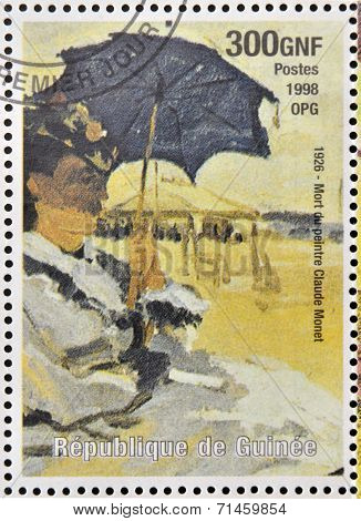 stamp printed in Republic of Guinea commemorates the death of the painter Claude Monet
