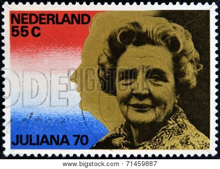 NETHERLANDS - CIRCA 1970: A stamp printed in Holland honoring Queen Juliana's 70th Birthday