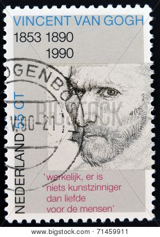 A stamp printed in Holland shows Self-portrait pencil sketch by Vincent van Gogh