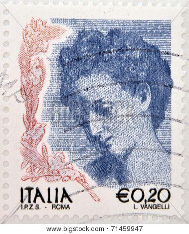 ITALY - CIRCA 2002: stamp printed in Italy shows portrait of Danae by Correggio circa 2002
