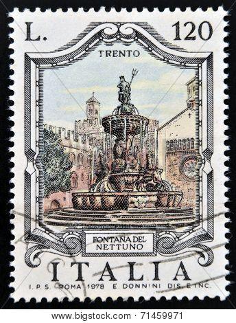 ITALY - CIRCA 1978: a stamp printed in Italy shows Neptune Fountain Trento Italy circa 1978
