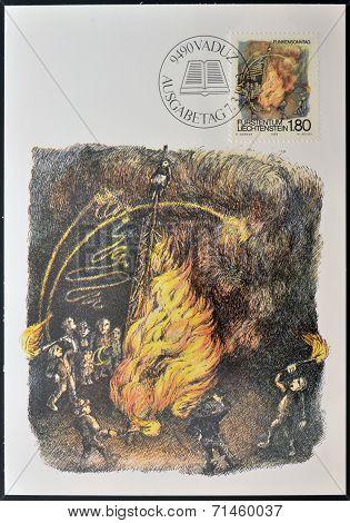 LIECHTENSTEIN -CIRCA 1983: stamp printed in Liechtenstein dedicated to Shrovetide and Lenten custums