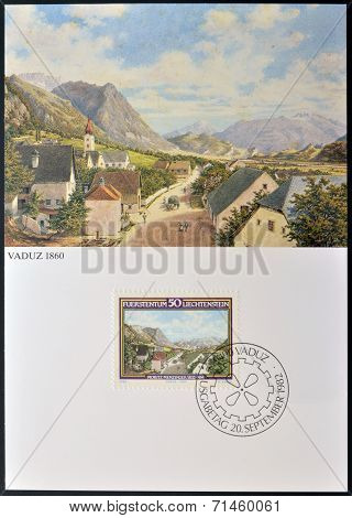 Stamp printed in Liechtenstein dedicated to the birth of Moritz Menzinger shows Vaduz 1860