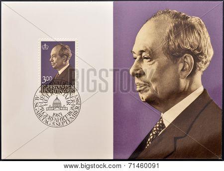 LIECHTENSTEIN - CIRCA 1983: A stamp printed in Liechtenstein shows Prince Joseph II circa 1983