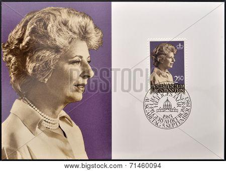 LIECHTENSTEIN - CIRCA 1983: A stamp printed in Liechtenstein shows Princess Gina circa 1983