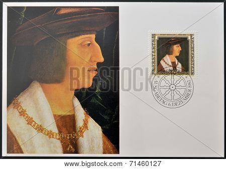 LIECHTENSTEIN - CIRCA 1982: Stamp printed in Liechtenstein dedicated to portraits of Famous visitors