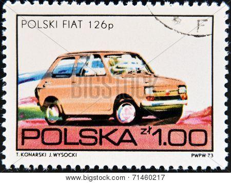 POLAND- CIRCA 1973: A stamp printed in Poland shows a Fiat circa 1973.