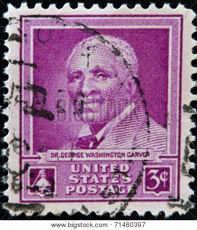UNITED STATES OF AMERICA - CIRCA 1948 : A stamp printed in USA shows Dr George Washington Carver