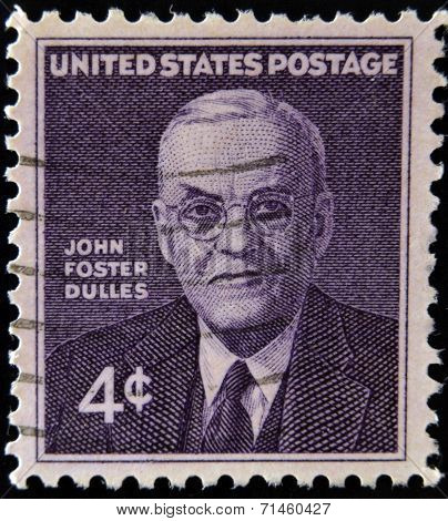 UNITED STATES OF AMERICA - CIRCA 1960: stamp printed in USA shows John Foster Dulles circa 1960