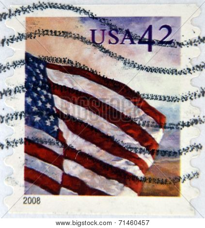UNITED STATES OF AMERICA - CIRCA 2008: A stamp printed in the USA shows Flag on the sky circa 2008
