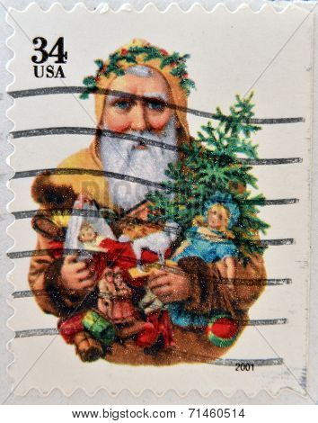UNITED STATES OF AMERICA - CIRCA 2001: A stamp printed in USA shows Santa Claus circa 2001