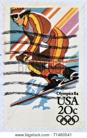 UNITED STATES OF AMERICA - CIRCA 1984: A stamp printed in USA shows slalom Winter Olympic Games