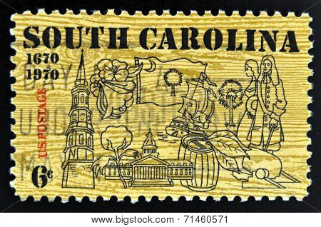UNITED STATES OF AMERICA - CIRCA 1970: stamp printed in USA shows Symbols of South Carolina