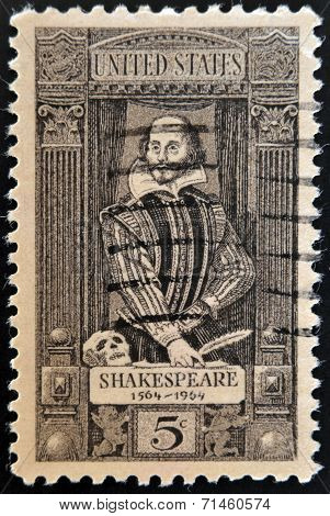 UNITED STATES OF AMERICA - CIRCA 1964: stamp printed in USA shows a portrait of William Shakespeare.
