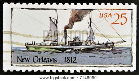 UNITED STATES OF AMERICA - CIRCA 1989: A stamp printed in USA shows Ship New Orleans (1812)