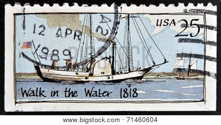 UNITED STATES OF AMERICA - CIRCA 1989: A stamp printed in USA shows Ship Walk in the water (1818)