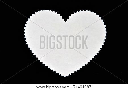 The reverse side of heart-shaped stamp