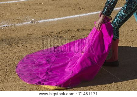 Spanish Bullfighter With The Cape In The Sabiote Bullring, Sabiote, Jaen Pronvince, Spain
