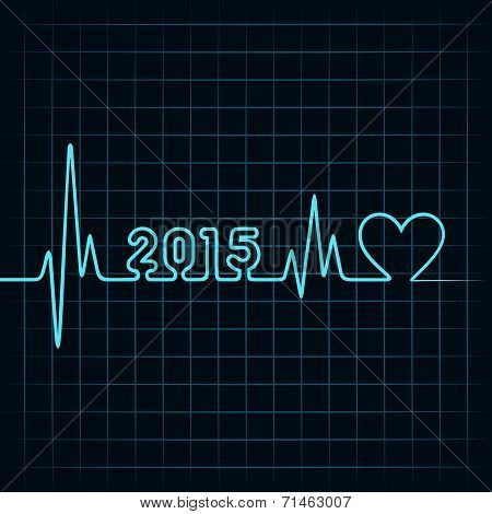 Illustration of heartbeat make 2015 and heart symbol
