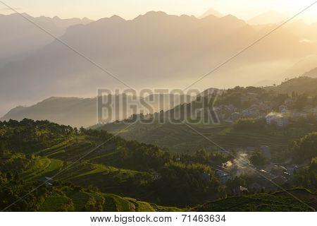 Sunrise at beautiful rice terrace fields in Mingao, Zhejiang, China