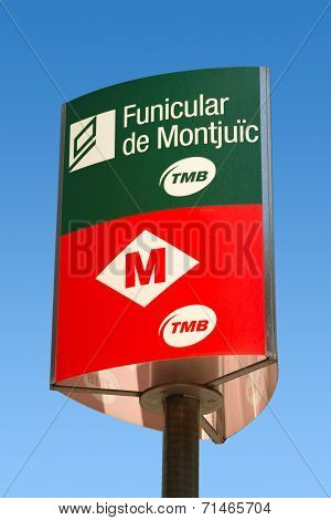 Sign Of Funicular Of Montjuic - Barcelona Spain