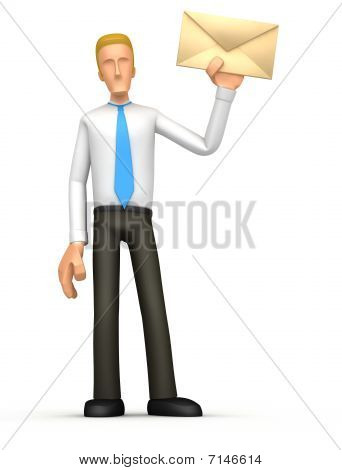 Manager Standing With A Letter