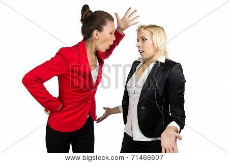 Boss woman yelling at a subordinate