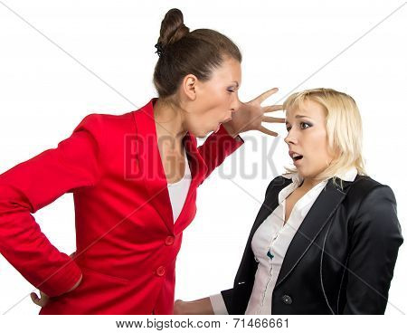 Business lady yelling at subordinate