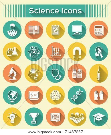 Science Icons with Long Shadows