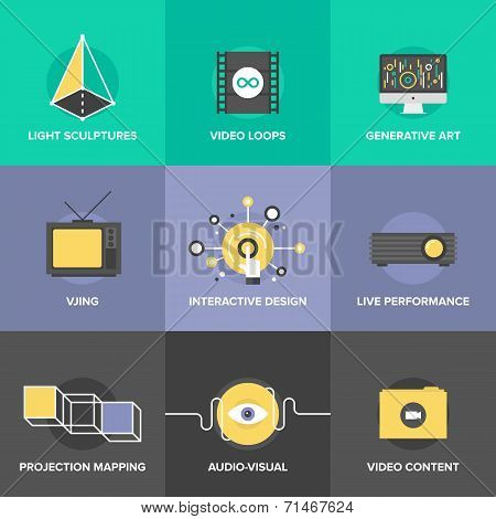 Audio And Visual Art Flat Design Icons