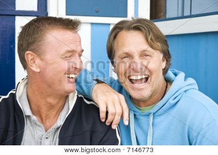 happy smiling gay couple