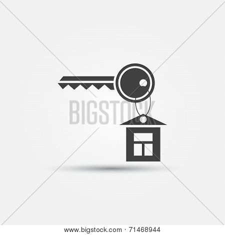 House and key icon - black vector key symbol with a house